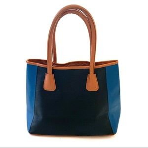 Neiman Marcus Color Block Faux Leather Tote Bag